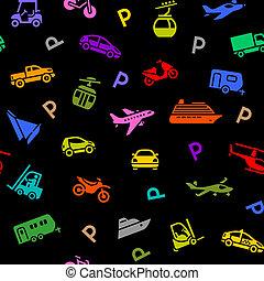 seamless, fondale, colorato, trasporto, icone