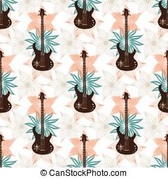 seamless, fondo, con, chitarra basso, e, flowers.., musica, wallpaper.