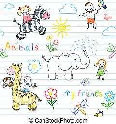 seamless, fondo, con, felice, bambini, e, animali