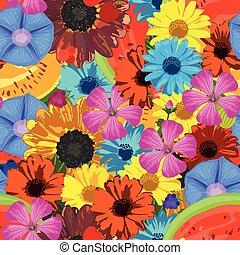 seamless, fondo, con, fiori
