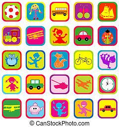 seamless, fondo, con, giocattoli, per, bambini