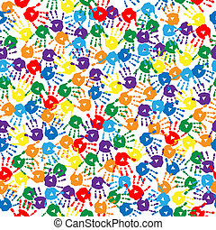 seamless, fondo, con, multi-colored, handprints