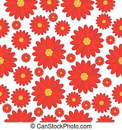 seamless, fondo, fiori, rosso
