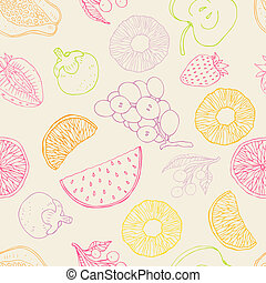 seamless, fondo, frutte