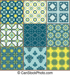 seamless, fondos, colección, -, vendimia, azulejo, -, para, diseño, y, álbum de recortes, -, en, vector