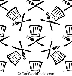 Seamless food and beverage background pattern with a black...