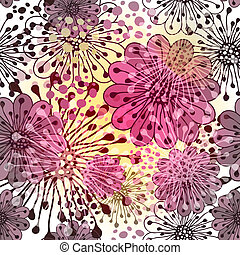 seamless, forår, blomstret mønster