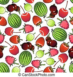 Seamless forest berries and garden fruits pattern