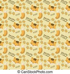 seamless, foxy, mønster, zeseed