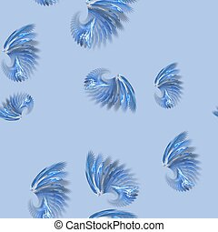 Seamless fractal wings pattern on blue