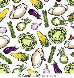 Seamless fresh farm vegetables pattern