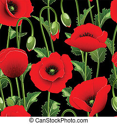 Seamless from poppies. - Seamless from red poppies and green...