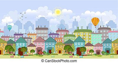 seamless, frontera, con, un, cityscape
