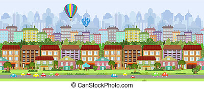 seamless, frontera, con, un, cityscape., panorama