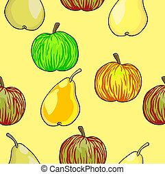 Seamless fruit pattern apples and pears