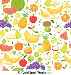 Seamless fruit pattern on a white background