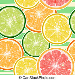 Seamless citrus fruits pattern. Lemon, orange, mandarin, grapefruit