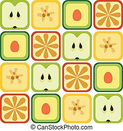 seamless, frutas, padrão