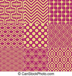 seamless fuchsia gold pattern