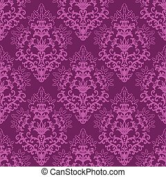 seamless, fuchsia, paarse , floral, behang