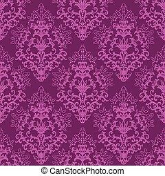 seamless, fuchsia, purpur, blommig, tapet