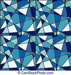 seamless, fundo, com, azul, mosaico, feito, de, geométrico, formas