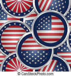 seamless, fundo, com, bandeira americana, teia, botões