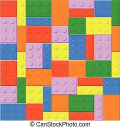 seamless, fundo, com, brinquedo plástico, blocos