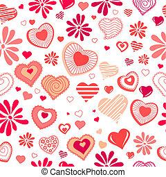 seamless, fundo, com, diferente, contorno, vermelho, corações