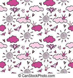 seamless, fundo cor-de-rosa, de, nuvens, de, coroas, e, corações