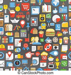 seamless, fundo, de, muitos, interface, ícones