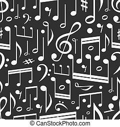 seamless, fundo, de, notas música