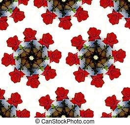 seamless, fundo, de, rosas, em, um, vase., padrão circular