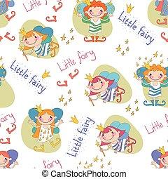 seamless, fundo, vetorial, ilustração, pequeno, fairies., meninas, fa