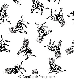 Seamless Funny Cartoon Zebra