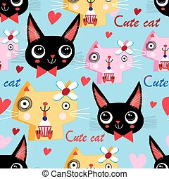 Seamless funny pattern of cats in love