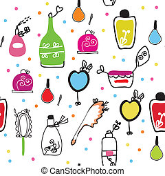 Seamless funny pattern with cosmetics and perfume