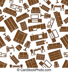 Seamless furnishings pattern for interior design - Brown...