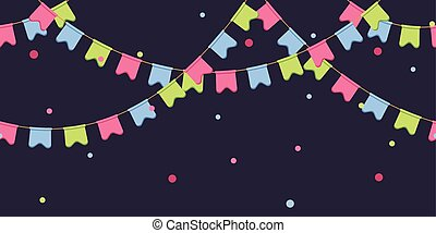 Seamless garland with celebration flags chain, pink, blue, ...