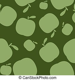 Seamless geen pattern background with apples