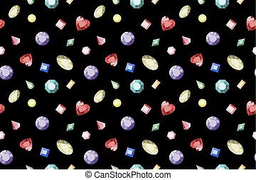Seamless gemstones pattern. Colorful jewels. Vector. Seamless illustration