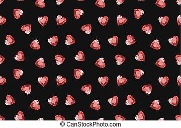 Seamless gemstones pattern. Red hearts jewels. Vector. Seamless gems illustration