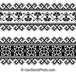 seamless, gente, geométrico, bordado, patrón, wtich, ucranio...
