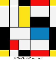 Seamless geometric abstract pattern. Mondrian style. Vector.