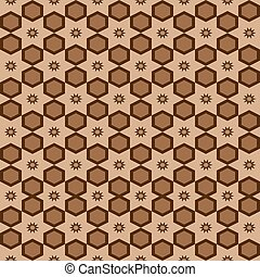 Seamless geometric arabesque Arabic oriental pattern vector traditional ethnic background design with brown hexagons ethnic star ornaments and beige backdrop