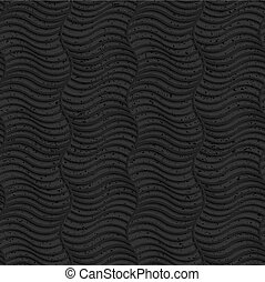 Textured black plastic striped vertical waves