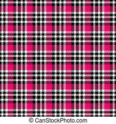 Seamless geometric gingham pattern. Abstract background. Fuchsia, red, black and white stripes