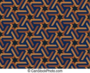 Seamless geometric Islamic ornament with hexagonal stars. ...