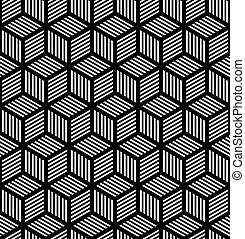 Seamless geometric texture in op art design. Vector art.