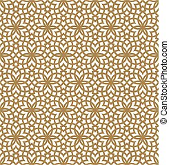 Seamless geometric pattern based on arabic ornament in brown color.